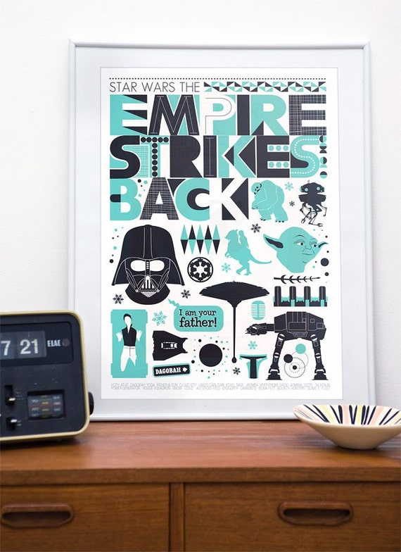 Star Wars Poster, Empire Strikes Back poster, Darth vader, movie poster, Home decor, Wall art, Baby room print, Film art, Minimalist poster