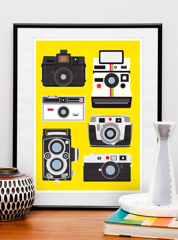 Camera print, polaroid poster,  Vintage camera art, baby nursery art, yellow poster, Retro Cameras A2