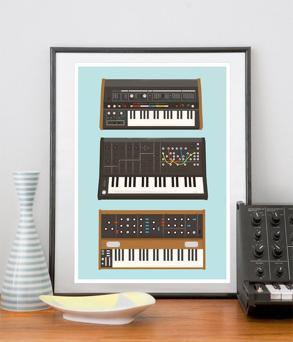 Poster Geekery print , Analog Synthesizer Poster, hipster Music poster, Nerd print, geek Retro print - Minimoog, roland, Korg A3