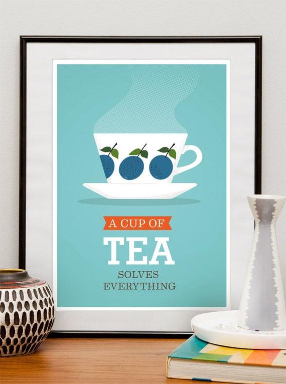 Tea print A cup of tea solves everything Tea poster  Kitchen Art retro poster kitchen decor tea wall art tea quote Stig Lindberg kitchen art