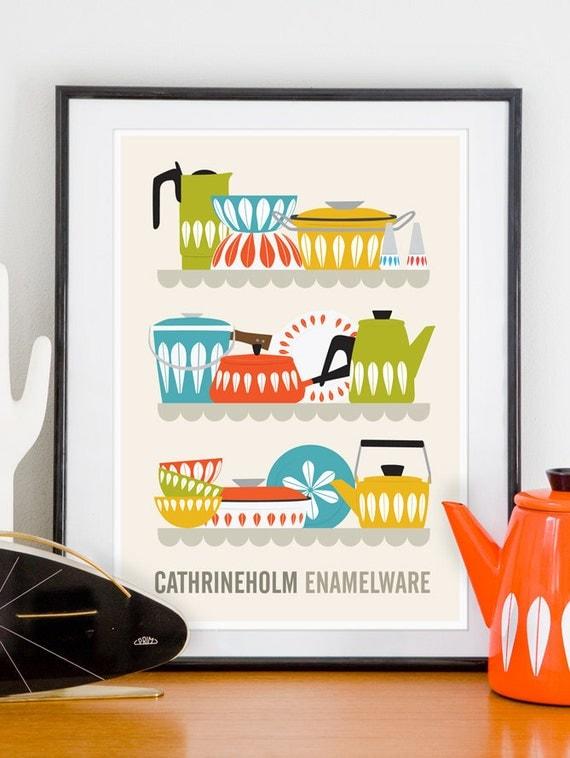 Cathrineholm Kitchen art cathrineholm poster, kitchen print, Art for Kitchen,  Mid century poster, Cathrineholm Enamelware A3