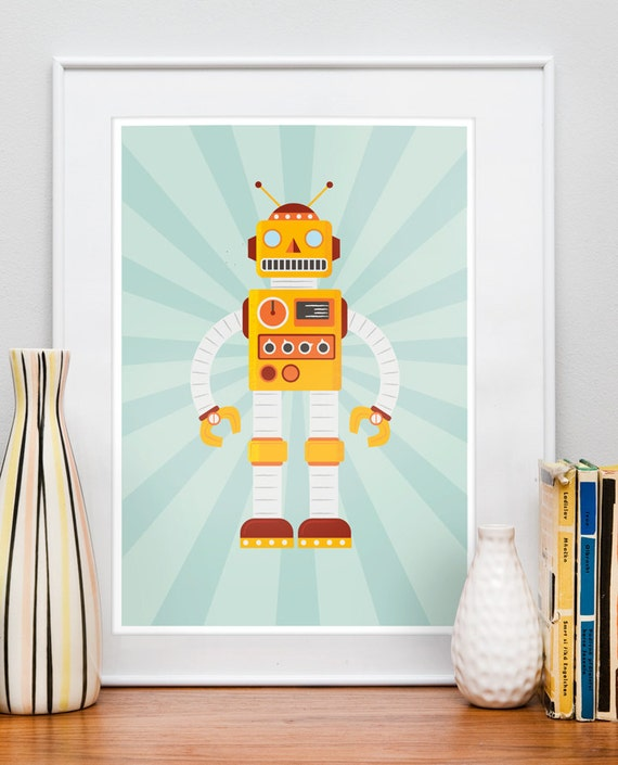 Vintage Kids Room: Nursery Robot Print Retro Poster Kids Room Art Vintage Toy