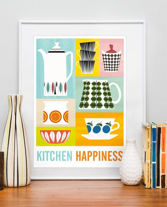 Kitchen Print poster, Mid century poster, art for kitchen, Cathrineholm, Retro kitchen wall decor, Scandinavian design, Kitchen Happiness A3