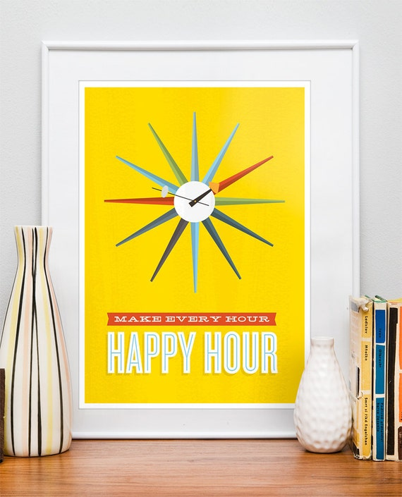 Inspirational quote print poster, mid century poster, retro, happy art, nursery art, kids  Nelson Clock - Make Every Hour Happy Hour