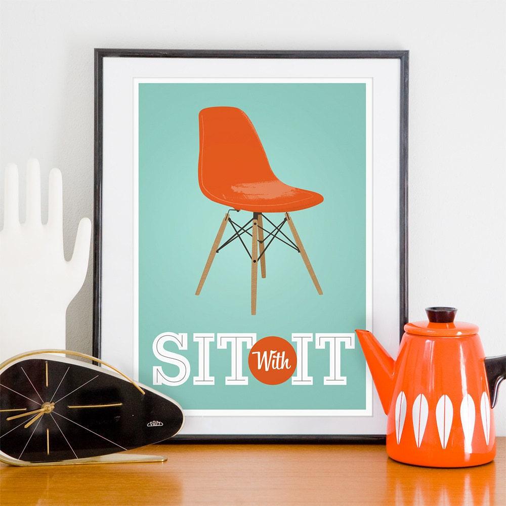 Eames poster print mid century modern art print midcentury for Modern art prints posters