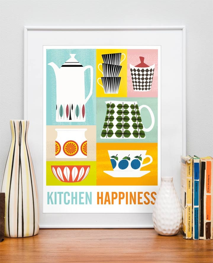Kitchen print poster mid century poster art for kitchen for Decoration retro cuisine