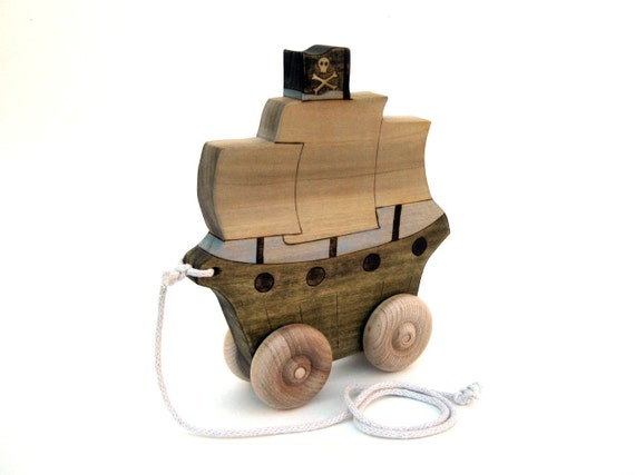 Pirate Ship Pull Toy - Push Toy - Wooden Toy - Handmade Toy - Wood Toy - Kids Toy