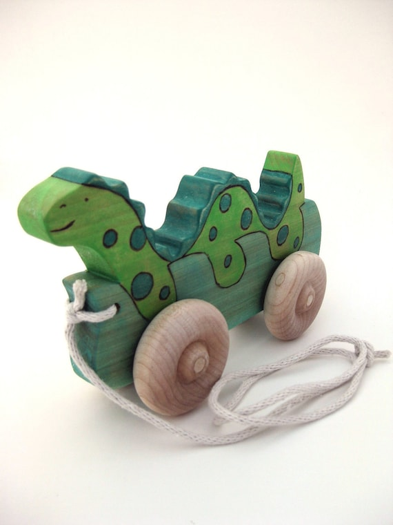 Sea Serpent - Wooden Pull Toy - Handmade Push Toy