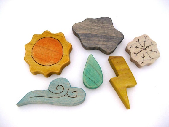 Weather Toy Set - Montessori Toy - Homeschool Toy - Handmade Wooden Toy