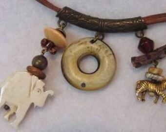 Vintage Native Tribal Style Necklace.. Elephant, Zebra, Natural Elements