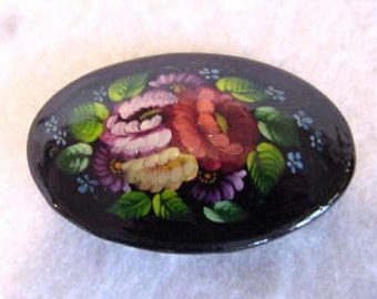 Vintage Hand Painted Floral Lacquered Wood Brooch / Pin
