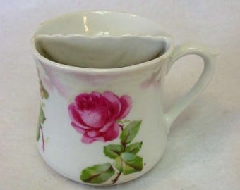 Victorian Porcelain Shaving Mug.. Rose & Pansy Floral Design.. Germany