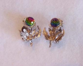 Vintage Clip Earrings In Shape of Flower... Aurora Borealus Crystal