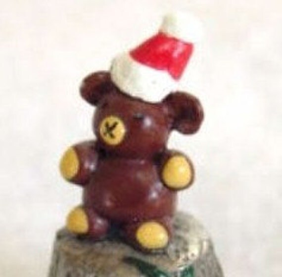 English Hand Painted Pewter Christmas Santa Bear Thimble - Vintage Artist Signed