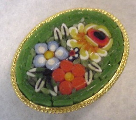 Vintage Hand Crafted Oval Mosaic Pin / Brooch