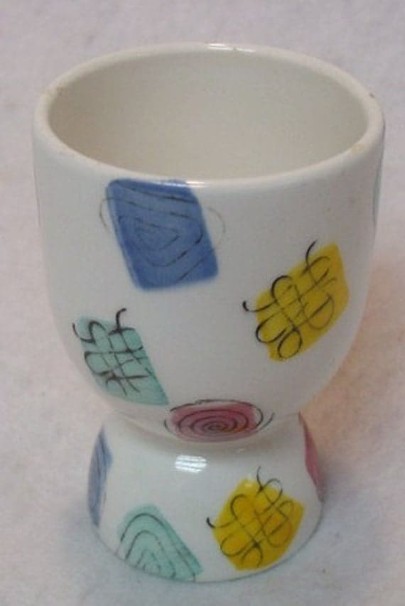 Vintage Pottery Arty 1960's  Egg Cup Abstract Designs