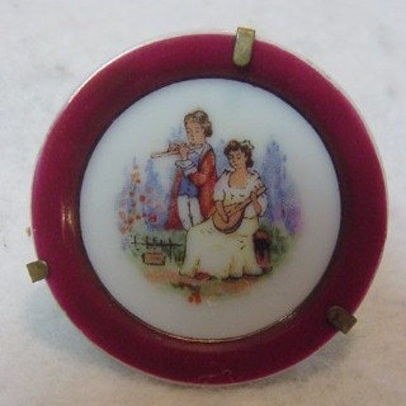 Vintage Miniature Porcelain Plate With Brass Stand