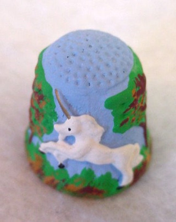 Vintage English Hand Painted Pewter Unicorn Thimble.. Artist Signed