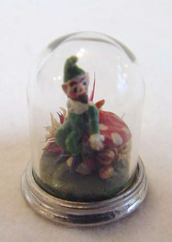 Miniature 1/12 Scale Victorian Glass Dome Hand Painted English Pewter Leperchaun / Pixie