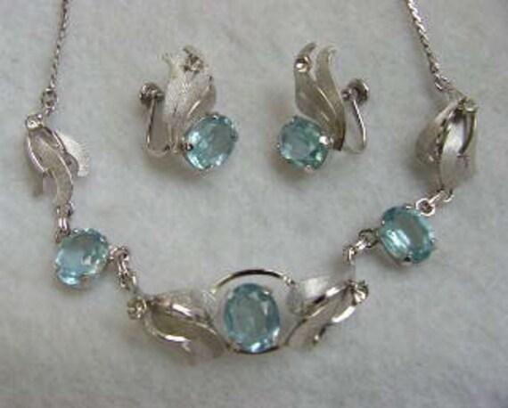 Vintage Designer Sterling Silver Rhinestone Necklace & Earrings.. Van Dell