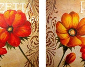 "Original painting 48""x18"" modern abstract texture floral italian poppies, ""La Piazzetta"", two pieces, each 24""x18"""