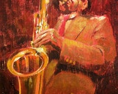 "Original jazz painting, very textured and awesome, ""Hot Jazz I"""