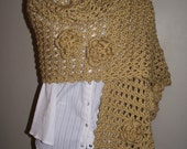 Gold Hand Crocheted Flower Shawl / Wrap