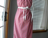 Fire Engine Red Gingham Women's Pillowcase Style SunDress