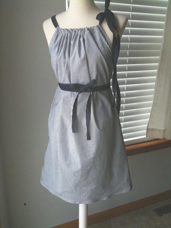 Navy Seersucker Women's Pillowcase Style Dress