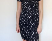 SALE: Navy and White Polka Dot Dress M