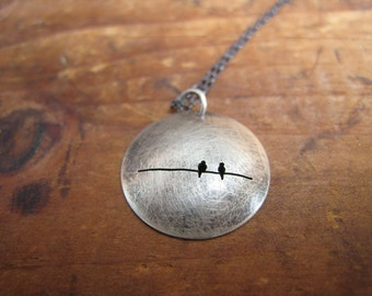 oxidized reversible 2 birds on a wire sterling dome necklace