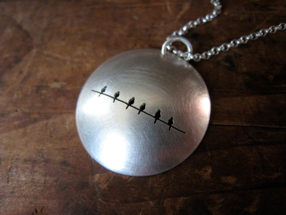 reversible 6 birds on a wire large sterling silver dome necklace