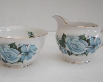 Vintage Bone China Blue Rose Sugar Bowl & Jug
