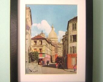 Vintage Print Framed  - Montmartre, Church of The Sacred Heart