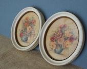 Vintage Jo Roelofs Oval Framed Floral Prints - Set of Two