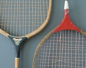 Vintage Red and Blue Wooden Badminton Rackets - Set of Two