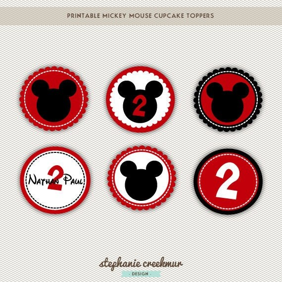 Mickey Mouse Printable Cupcake Toppers by StephanieCreekmur Mickey Mouse Cupcake Toppers Printable