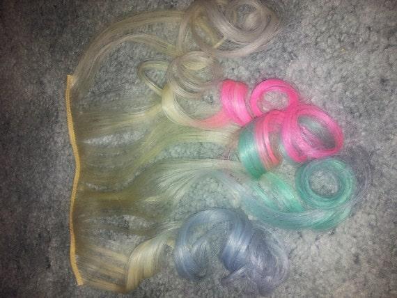 Blonde pastel colors hair extension