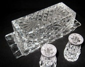 Vintage Hand Crafted Godinger Crystal Butter Dish with Bonus Salt and Pepper Shakers