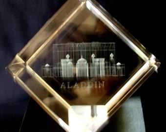 Aladdin Resort and Casino Crystal 3-D Paper Weight - Las Vegas Nevada