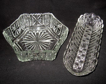Avon Glass Set of Two Candy or Trinket Dishs