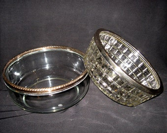 Two Vintage Cut Glass Serving Bowls Silverplate Trim Set of Two
