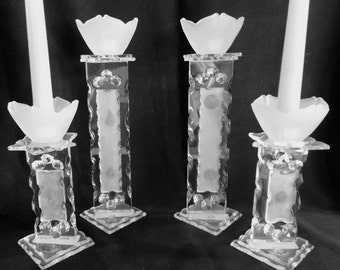 1960's Italian Chipped Diffusion Crystal Candle Holders Set of Four