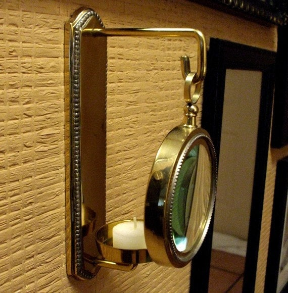 Magnifying Glass Brass Candle Holder Wall Decor