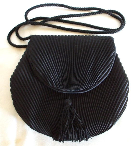 Black Satin Shoulder Bag Vintage  Pleated with Snap Closure from 1980's