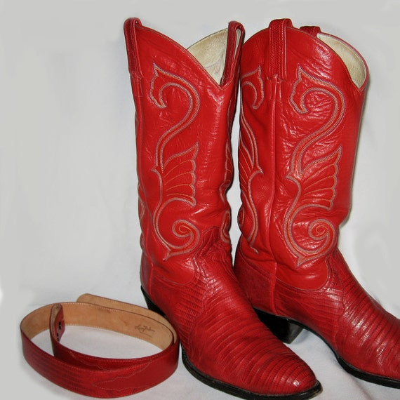Larry Mahan Mens Red Cowboy Boots And Belt Made In Texas Size