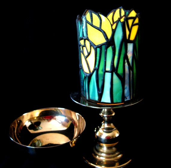 stained glass tulip votive brass bowl and candle holder set. Black Bedroom Furniture Sets. Home Design Ideas