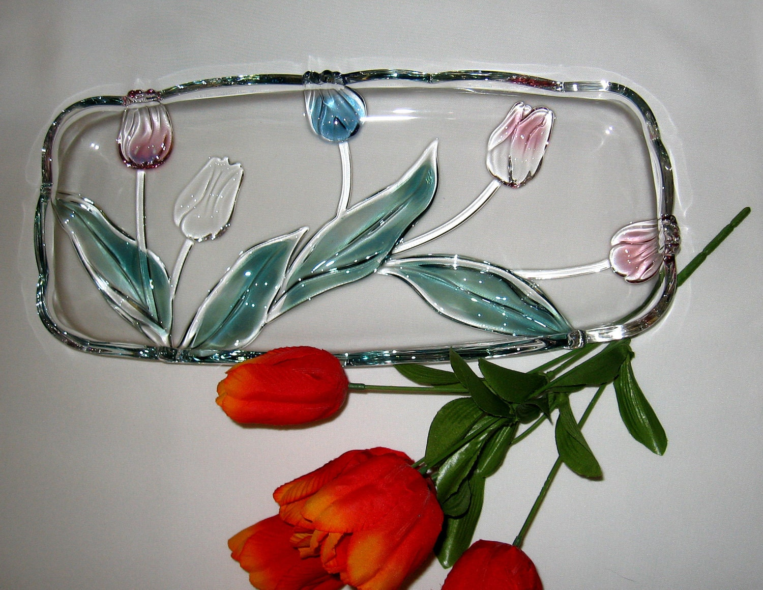 Mikasa crystal tulip platter canape tray tivoli pattern from for Canape serving platters