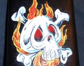 Skull Flask Leatherbound 8oz Stainless Steel