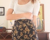 Vintage High Waisted Skirt, The Golden flower